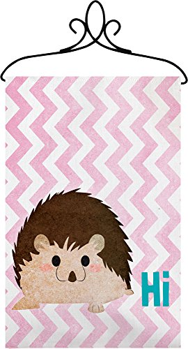 Manual Hi Hedgehog Chevron Nursery Wallhanging Bannerette w/ Rod SWHIHH 18×13″ Pink Blue White Brown