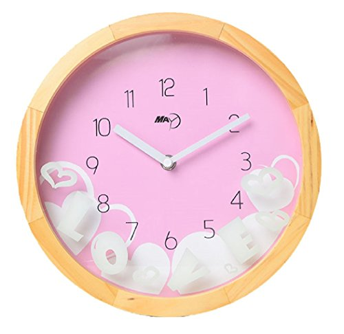 Maytime Indoor/Outdoor Wooden Frame Simple Modern Silent Sweep Movement Wall Clock 10 Inch