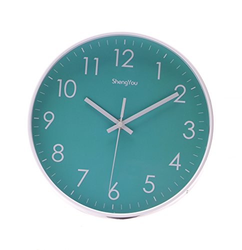 SonYo Indoor/Outdoor Non-Ticking Silent Quartz Modern Simple Wall Clock Digital Quiet Sweep Movement Office Decor 10 Inch(Bluegreen)