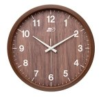 Maytime Indoor/Outdoor Faux Wooden Frame Simple Modern Silent Sweep Movement Round Wall Clock for Office Dinning Room 14 Inches Brown