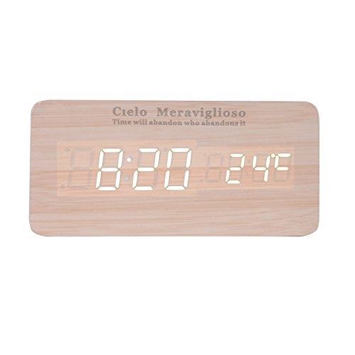 Cielo Meraviglioso Wood LED Clock with Voice Control,Temperature,Time,Alarm,Date Display and Snooze Mode Function (yellow+white LED)