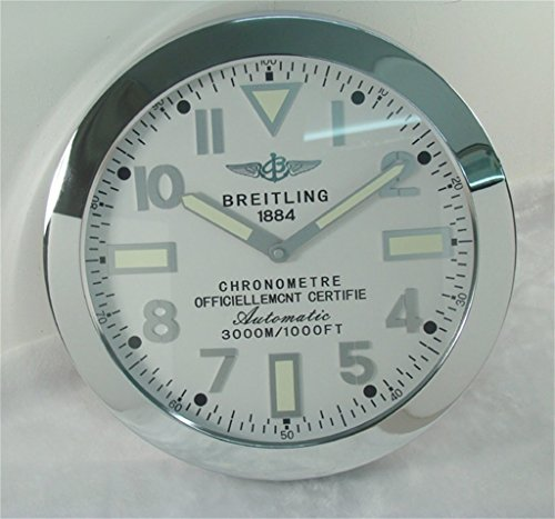 Breitling Luminous Silent Sweep Wall Clock Silver+White
