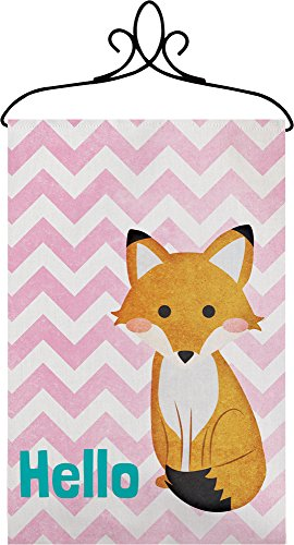 Manual Hello Fox Chevron Nursery Wallhanging Bannerette with Rod SWHFOX 18×13″ Pink White Blue Brown