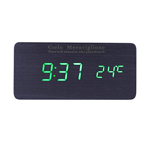 Cielo Meraviglioso Wood LED Clock with Voice Control,Temperature,Time,Alarm,Date Display and Snooze Mode Function (black+green LED)