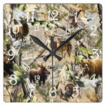 ***Cabin, Country Mountain, Nature Print Square Wall Clock