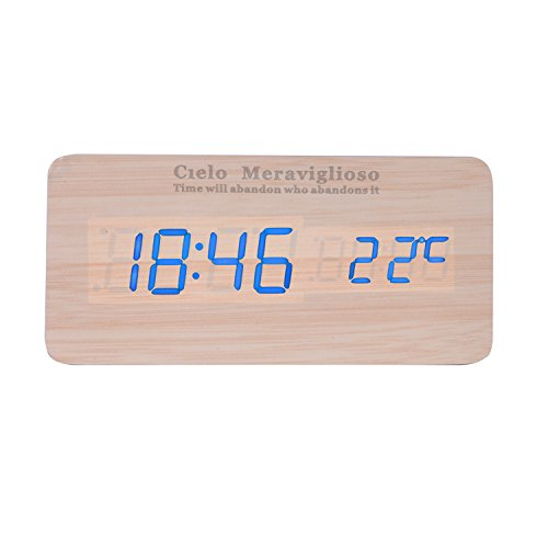 Cielo Meraviglioso Wood LED Clock with Voice Control,Temperature,Time,Alarm,Date Display and Snooze Mode Function (yellow+blue LED)