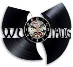 The Wu Tang Clan Music Vinyl Record Sticker Style Wall Clock – Decorate your home with Modern Rap Clan Logo Art – Gift for friend, man and boy