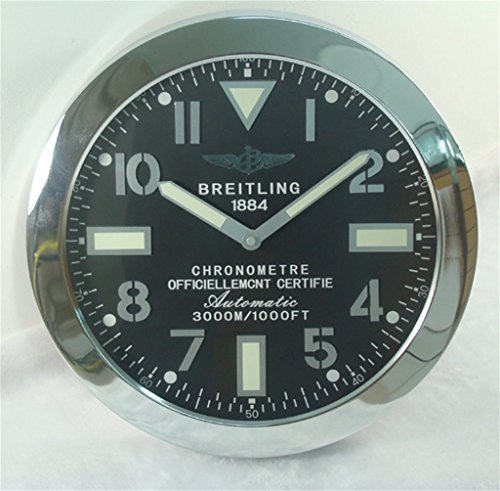 Breitling Luminous Silent Sweep Wall Clock Silver+Black