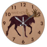 Rustic Moose Faux Leather-Look Name Large Clock