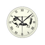 Vintage big fat pig minimal chic round clock