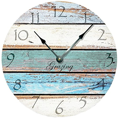 Grazing 12″ Vintage Arabic Numerals ,Shabby Beach, Weathered Beachy Boards Design ,Ocean Colors Old Paint Boards Printed Image, Rustic Mediterranean Style Wooden Decorative Round Wall Clock (Sky)