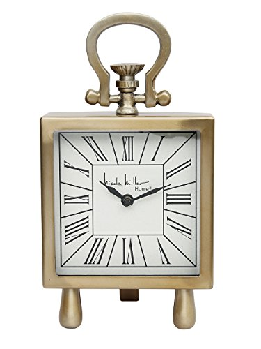 Store Indya Antique Retro Vintage-Inspired Wrought Iron Craft Table Clock Home Decor