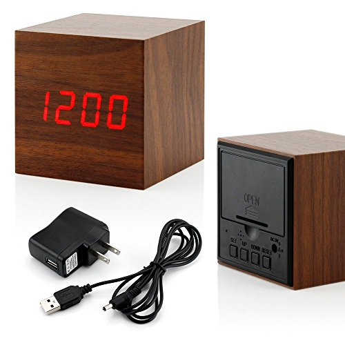 GEARONIC TM Ultra Modern Wooden LED Clock Square Cube Digital Alarm Thermometer Timer Calendar Updated 2016 Brighter LED – Brown