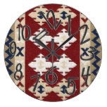 APACHE mm30, Tribal/Western/Motif Red/Bl/Wh Large Clock