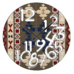 KIOWA mm34, Tribal/Western Motif Bk,Br,Tan,Red Large Clock
