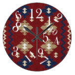 MARICOPA mm32, Tribal/Western/Motif, Red Hue Large Clock