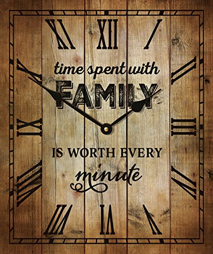 Time Spent With Family Is Worth Every Minute Rustic Wood Wall Clock (17.625 x 21″)