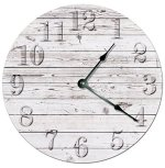 RUSTIC BEACH BOARD CLOCK Decorative Round Wall Clock Home Decor Wall Clock Large 10.5″ Novelty Clock PRINTED WHITE WOOD BOARDS