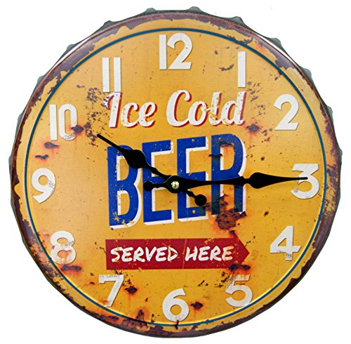 Round Decorative Metal Clock Retro Antique Look Ice Cold Beer Bottle Cap 3D Quartz movement