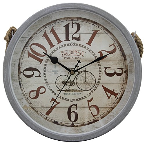 12″ Retro Vintage Round Grey Matte Finishing Iron Hanging Rustic Wall Clock