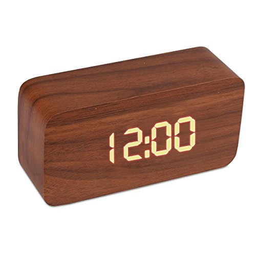 Wood Cuboid Digital Clock Alarm Thermometer Temperature Function Clap On Sound Control Clock (Brown case)
