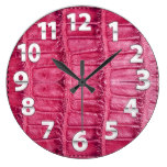 Alligator Red Leather Look Print Large Clock