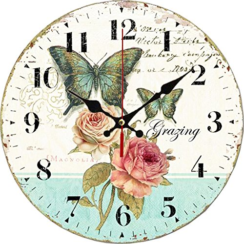 Grazing 12″ Romantic Rose and Butterfly Design Arabic Numerals Rustic Country Tuscan Style Wooden Decorative Round Wall Clock ( Rose )