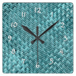 Faux Rattan Teal Turquoise Zigzag Weave Pattern Square Wall Clock