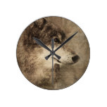Rustic Timber Wolf Illustration Round Clock