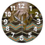 Western Fringe, Tribal Pattern Print Large Clock