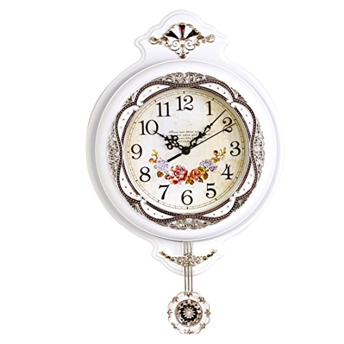 Foxtop 12 Inch Antique Elegant, Traditional, Decorative, Hand Painted Modern Grandfather Wall Clock with Swinging Pendulum (White)