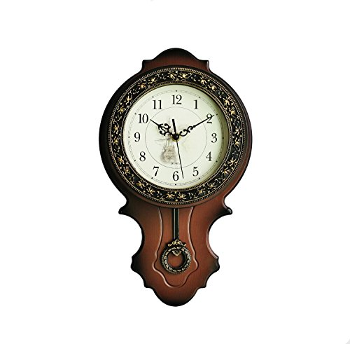 "9.8""×17"" Foxtop Large Living Room European-style Wall Clock Antique Clocks Mute Modern Fashion Creative Quartz Wall Clock Pendulum, Resin"