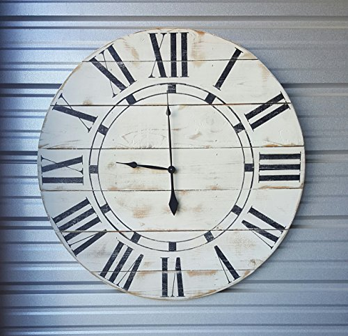 "24in ""Riley"" reclaimed wood wall clock, fixer upper style clock, farmhouse wall clock, oversized wall clock, rustic clock, shabby chic clock, distressed clock"