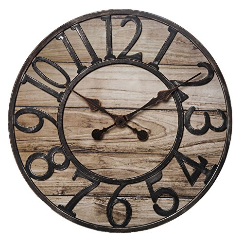 Chaney Instrument Co 75177 Wood Finish Wall Clock, 19.5″