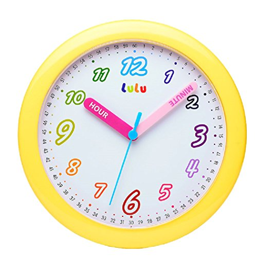 Maytime Colorful Arabic Numerals Lovely Dial Room Home Children's Round Wall Clock 10 Inch(Yellow)