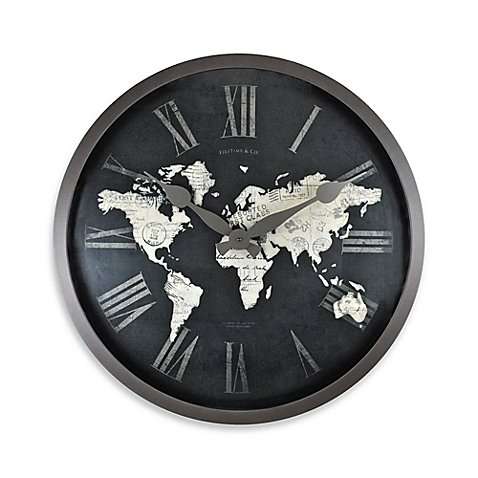 FirsTime World Map Wall Clock in Black/Gold