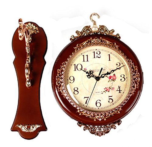SonYo Indoor/Outdoor Antique Vintage Double-Sided Wall Hanging Quartz Clock Elegant Home Decor with Rose Pattern Included Hanger 12 Inch Brown