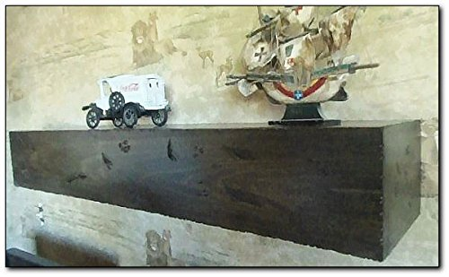 Rustic Mantel, distressed hardwood 92″colored in ebony