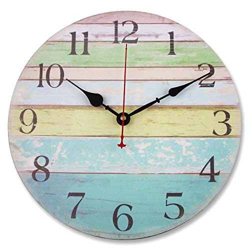 Soledi 12″ Vintage Colorful Stripe Design Rustic Country Tuscan Style Wooden Decorative Round Wall Clock (Ocean)