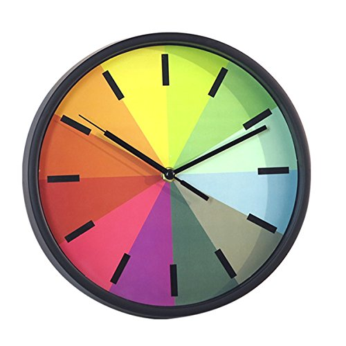 Foxtop Modern Creative Round 10-inch Non Ticking Silent Wall Clock,Kids Rainbow Color Clock – Black