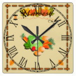 Autumn Leaves and Harvest Square Wall Clock