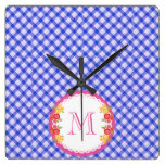 Blue vintage gingham flower monogram square wall clock