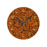 Chic Brown Faux Rattan Cute Zigzag Weave Pattern Round Clock