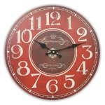 Round Decorative Clock Red and Burgundy With White Numbers And Distressed Face 13 x 13 inches Quartz movement