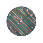 Genuine Fall Rust Green Gold Copper Earth Neutral. Round Clock