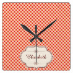 Red vintage gingham calligraphy name square wall clock