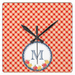 Red vintage gingham flower monogram square wall clock