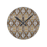 Trendy Native American Indian Cabin Mosaic Pattern Round Clock