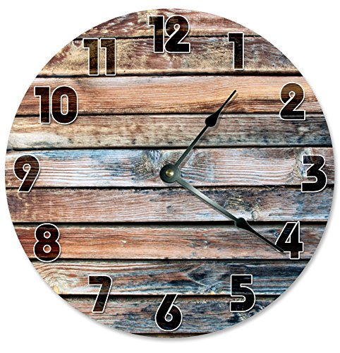 OLD BARN WOOD Clock Large 10.5″ Wall Clock Decorative Round Circle Clock Home Decor Novelty Clock PRINTED WOOD IMAGE