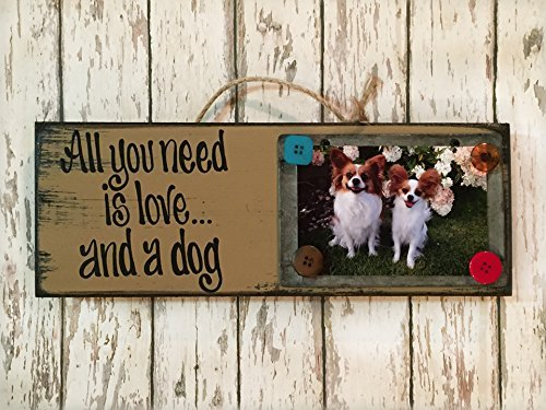 Reclaimed Photo Holder / Chalkboard / Sign – ALL YOU NEED IS LOVE AND A DOG